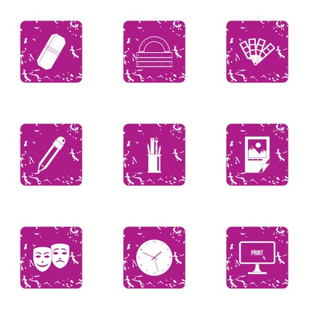 Fancy icons set. Grunge set of 9 fancy vector icons for web isolated on white background