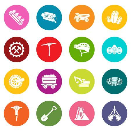 Coal mine icons set vector colorful circles isolated on white background
