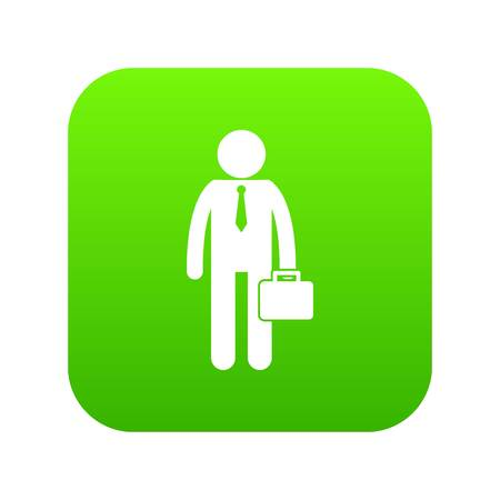 Businessman standing with his briefcase icon digital green Vectores