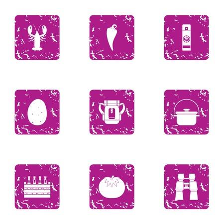 Beer biz icons set, grunge style Ilustração
