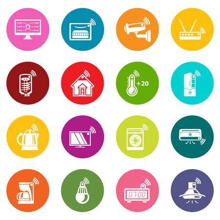 Smart home icons set colorful circles vector Ilustração