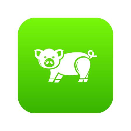 Cute pig icon green vector