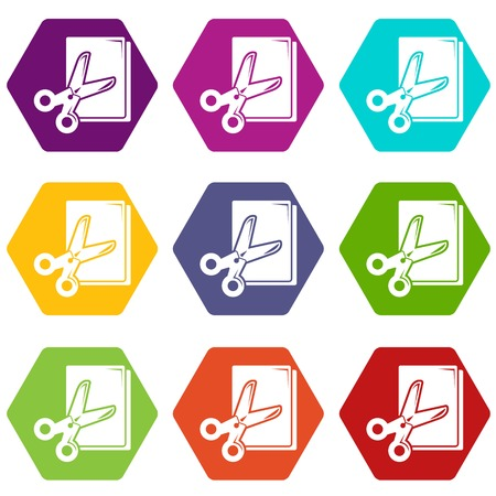 Scissors paper icons set 9 vector