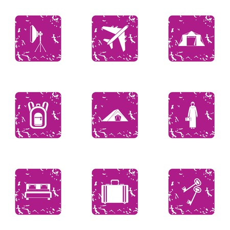 Business tourism icons set, grunge style