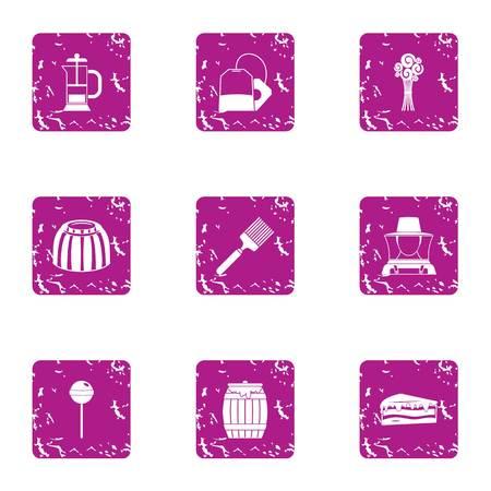 Honeyed icons set. Grunge set of 9 honeyed vector icons for web isolated on white background