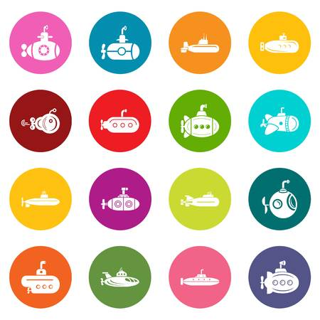 Submarine icons set colorful circles vector