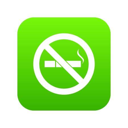 No smoking sign icon digital green