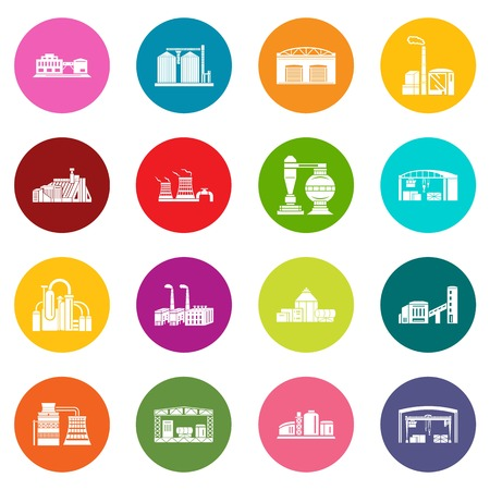 Factory icons set vector colorful circles isolated on white background. Banque d'images - 101226781