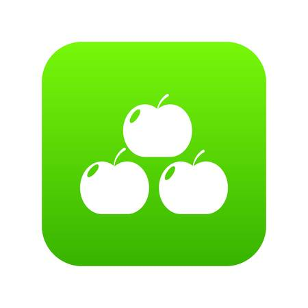 Apples icon green vector Illustration