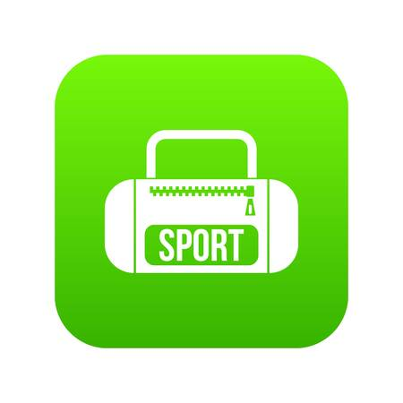 Sports bag icon digital green Stock Illustratie
