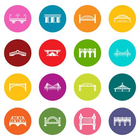 Bridge icons set colorful circles vector