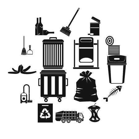 Garbage thing icons set, simple style