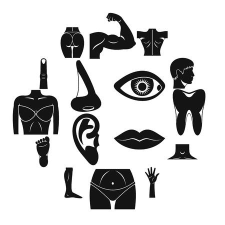 Body parts icons set, simple style Illusztráció