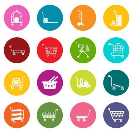 Cart types icons set colorful circles vector