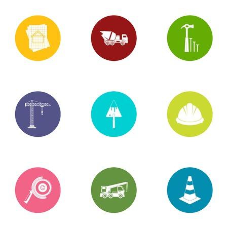 Joiner icons set, flat style