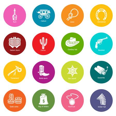 Wild west icons set vector colorful circles isolated on white background