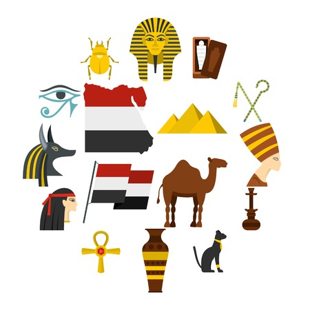 Egypt travel items icons set in flat style isolated vector illustration