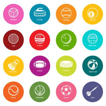 Sport balls equipment icons set vector colorful circles isolated on white background  Illustration
