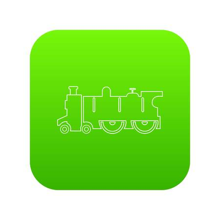 Old steam locomotive icon green vector isolated on white background