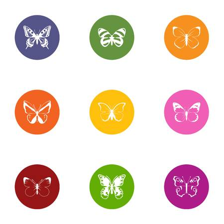 Bowtie icons set. Flat set of bowtie vector icons for web isolated on white background