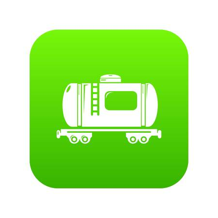Gasoline railroad tanker icon green vector isolated on white background