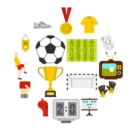 Soccer football icons set in flat style isolated vector illustration