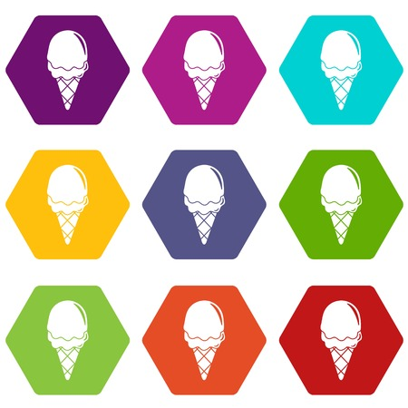 Strawberry ice cream icons set coloful isolated on white for web Vettoriali