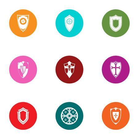 Shield icons set, flat style