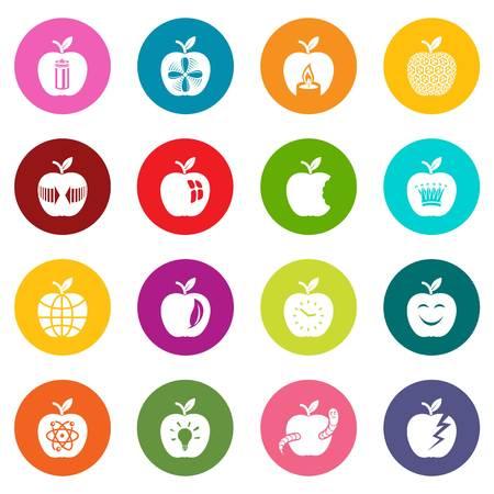 Apple logo icons set colorful circles vector Illustration
