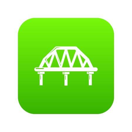 Arched train bridge icon green vector