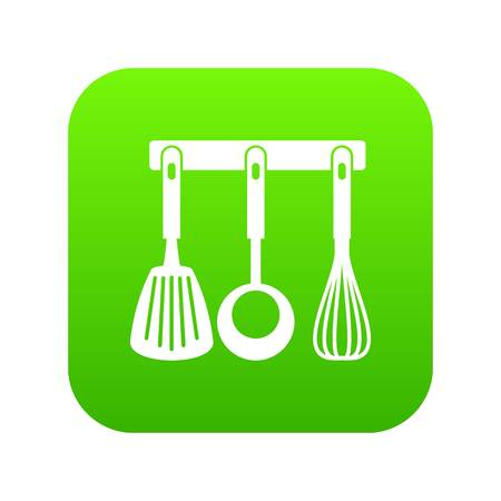 Spatula, ladle and whisk, kitchen tools icon digital green