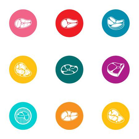 Piece of meat icons set, flat style Illustration
