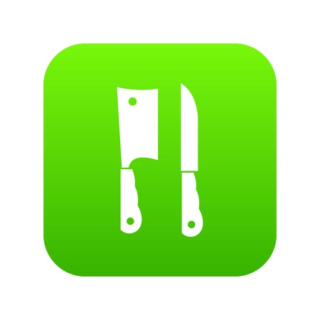 Kitchen knife and meat knife icon digital green Illustration
