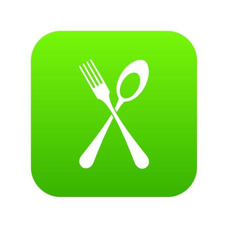Spoon and fork icon digital green