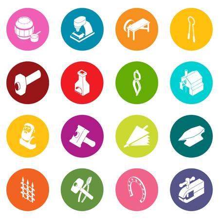 Blacksmith tools icons set colorful circles vector