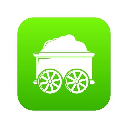 Train wagon icon green vector