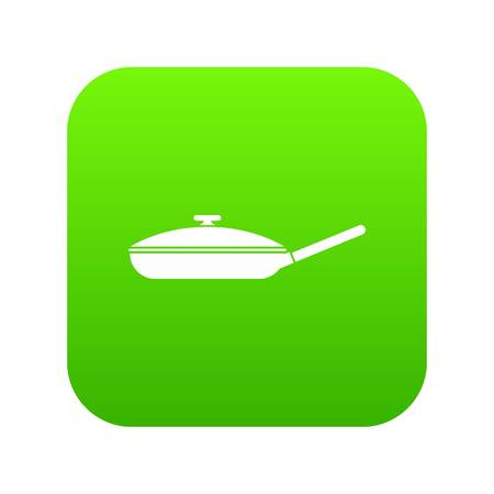 Black frying pan icon digital green