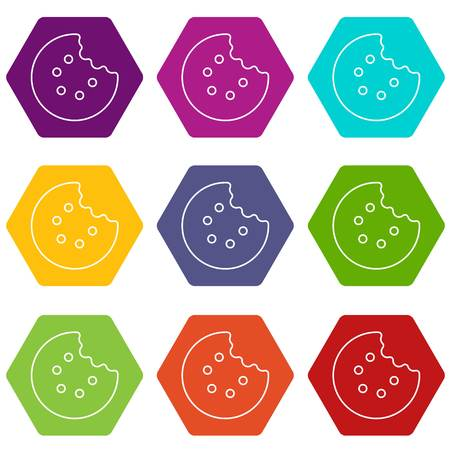 Bite biscuits icons set 9 vector