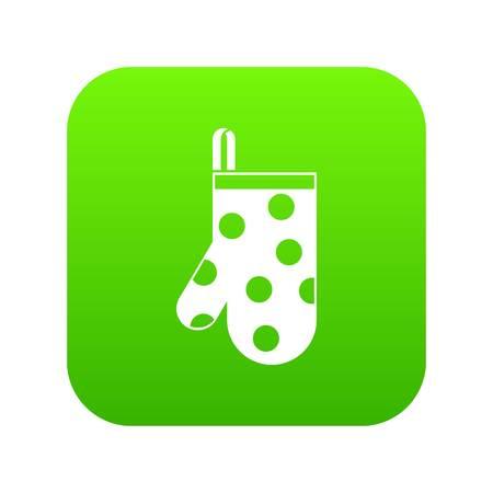 Kitchen glove icon digital green Illustration