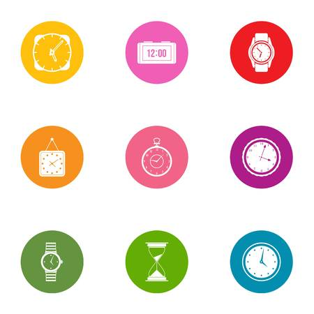 Timepiece icons set, flat style
