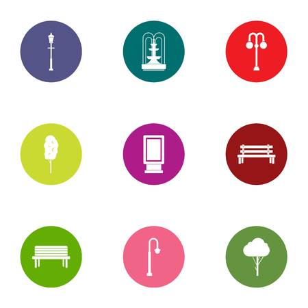 Park lighting icons set, flat style