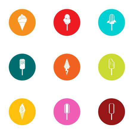 Sundae icons set. Flat set of sundae vector icons for web isolated on white background