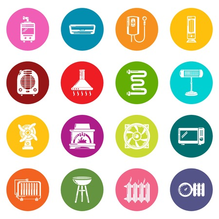 Heat cool air flow tools icons set vector colorful circles isolated on white background