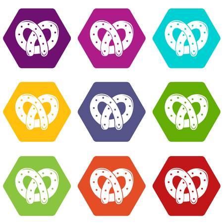 Pretzel icons set coloful isolated on white for web