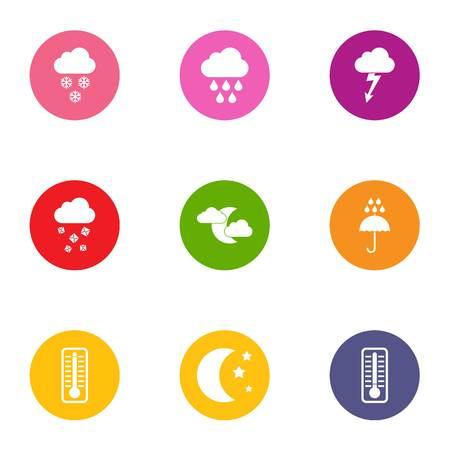 Improved weather icons set. Flat set of improved weather vector icons for web isolated on white background