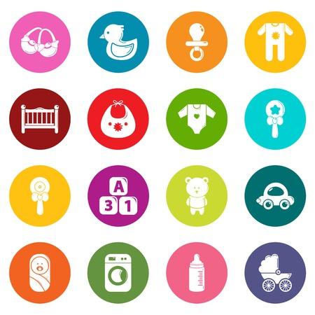 Baby born icons set colorful circles vector