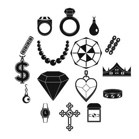 Jewelry items icons set, simple style