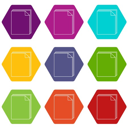 Paper icons set 9 vector 向量圖像