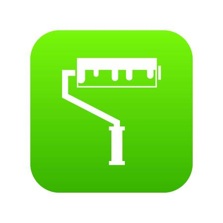 Paint roller with paint icon digital green Illustration
