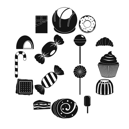 Sweets and candies icons set, simple style 向量圖像
